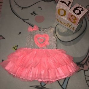 Pink Ruffled Striped Sleeveless 3M Baby Dress